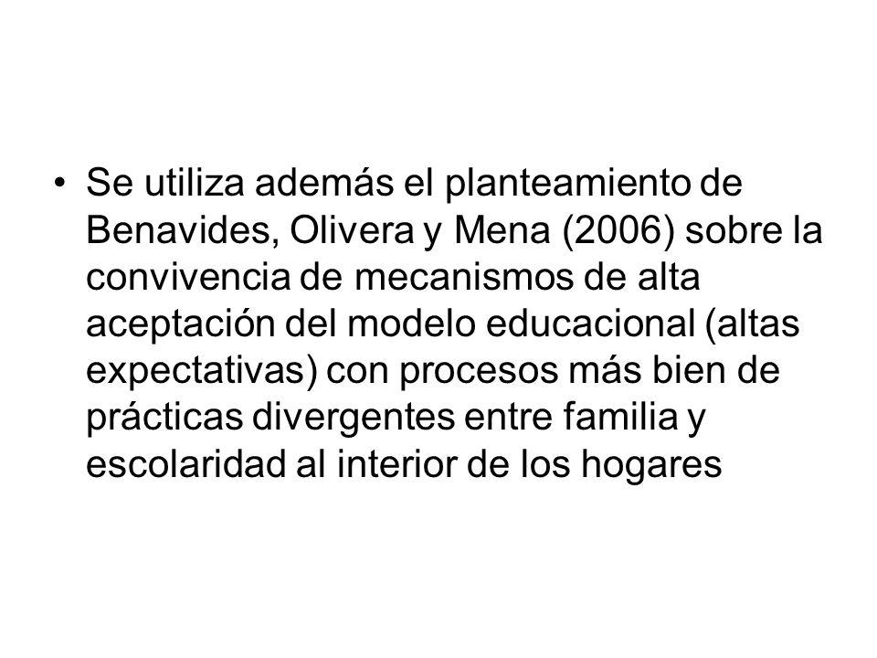 Se utiliza además el planteamiento de Benavides, Olivera y Mena (2006) sobre la convivencia de mecanismos de alta aceptación del modelo educacional (altas expectativas) con procesos más bien de prácticas divergentes entre familia y escolaridad al interior de los hogares