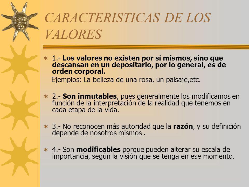 CARACTERISTICAS DE LOS VALORES 1.- Los valores no existen por sí mismos, sino que descansan en un depositario, por lo general, es de orden corporal. E