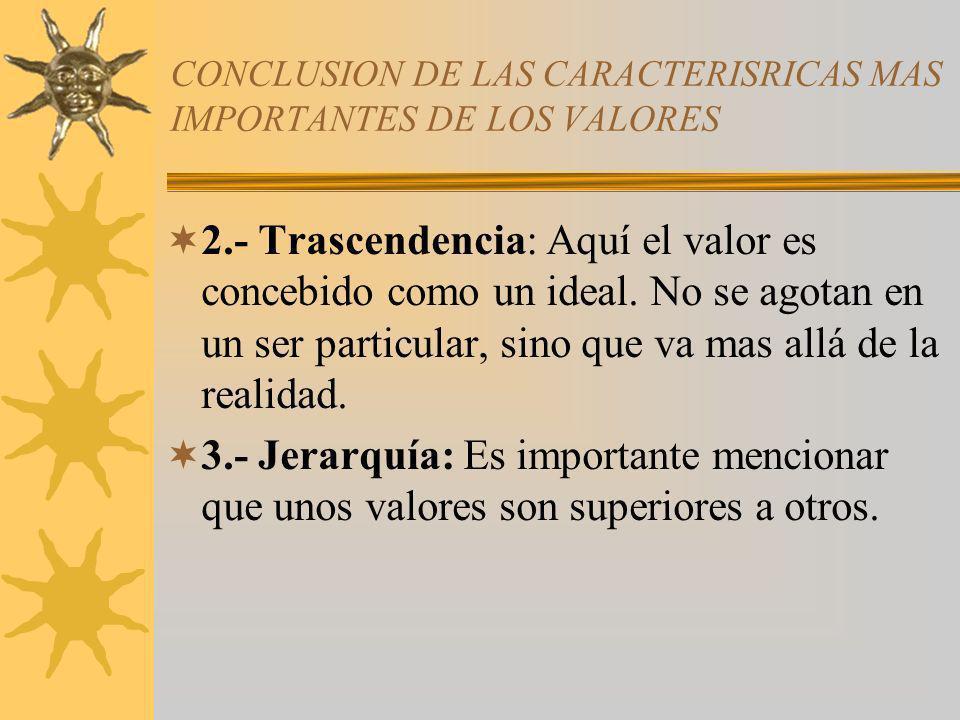 CONCLUSION DE LAS CARACTERISRICAS MAS IMPORTANTES DE LOS VALORES 2.- Trascendencia: Aquí el valor es concebido como un ideal. No se agotan en un ser p