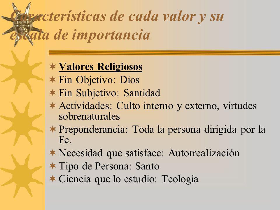 Características de cada valor y su escala de importancia Valores Religiosos Fin Objetivo: Dios Fin Subjetivo: Santidad Actividades: Culto interno y ex