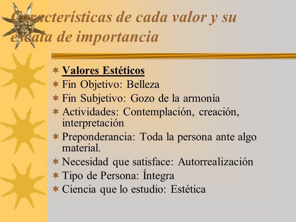 Características de cada valor y su escala de importancia Valores Estéticos Fin Objetivo: Belleza Fin Subjetivo: Gozo de la armonía Actividades: Contem