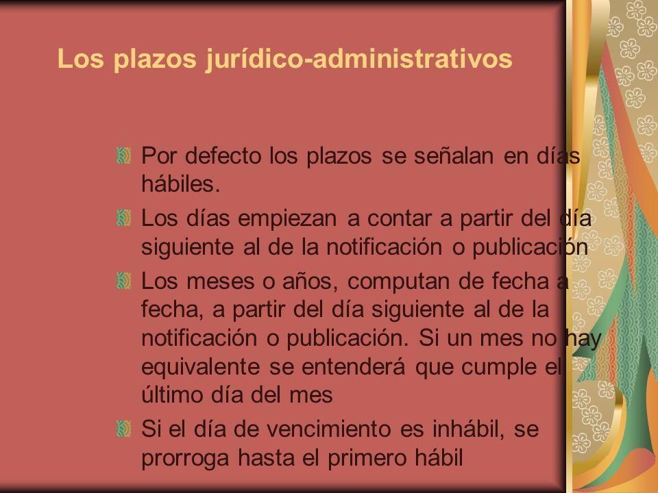 Los plazos jurídico-administrativos Por defecto los plazos se señalan en días hábiles. Los días empiezan a contar a partir del día siguiente al de la