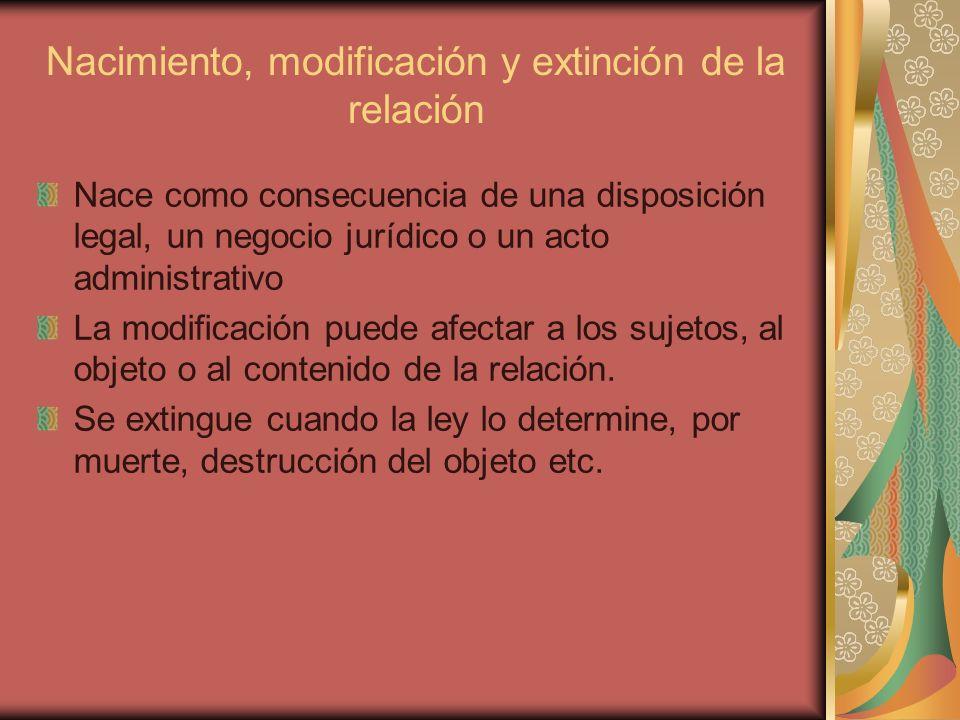 Nacimiento, modificación y extinción de la relación Nace como consecuencia de una disposición legal, un negocio jurídico o un acto administrativo La m