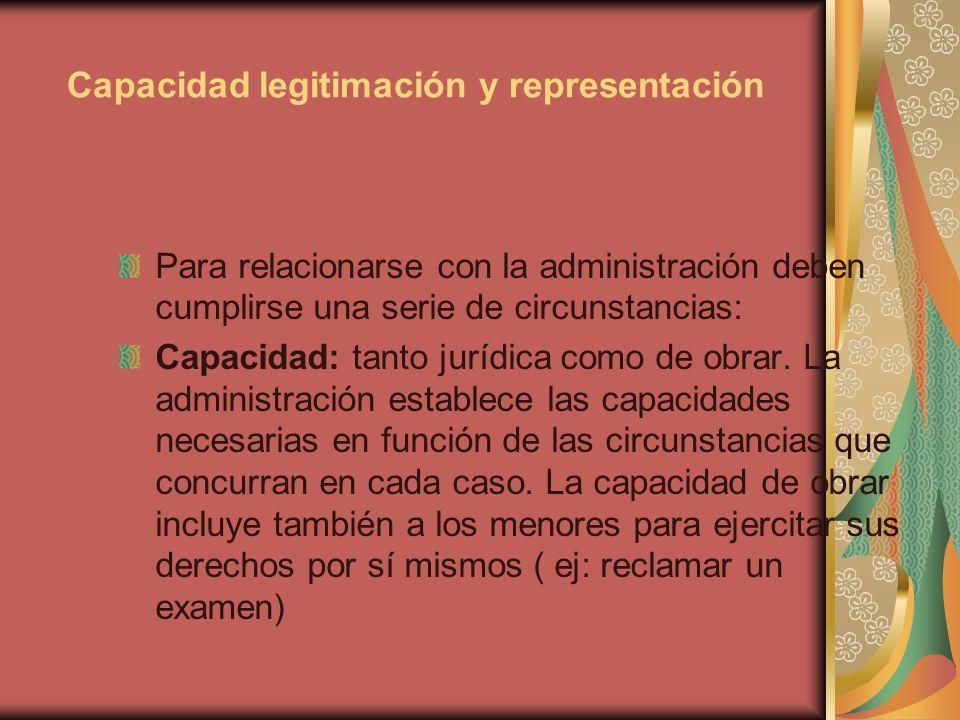 Capacidad legitimación y representación Para relacionarse con la administración deben cumplirse una serie de circunstancias: Capacidad: tanto jurídica