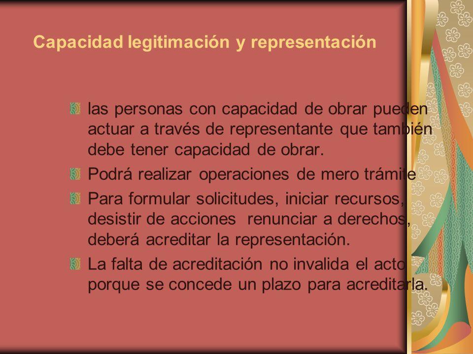 Capacidad legitimación y representación las personas con capacidad de obrar pueden actuar a través de representante que también debe tener capacidad d