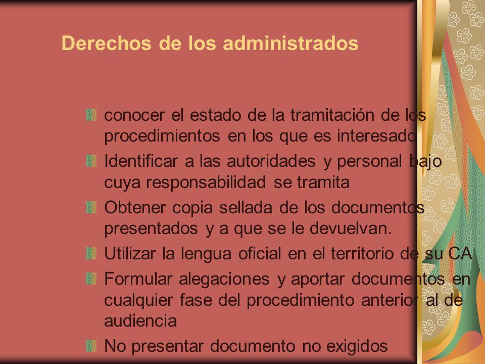 Derechos de los administrados conocer el estado de la tramitación de los procedimientos en los que es interesado Identificar a las autoridades y perso