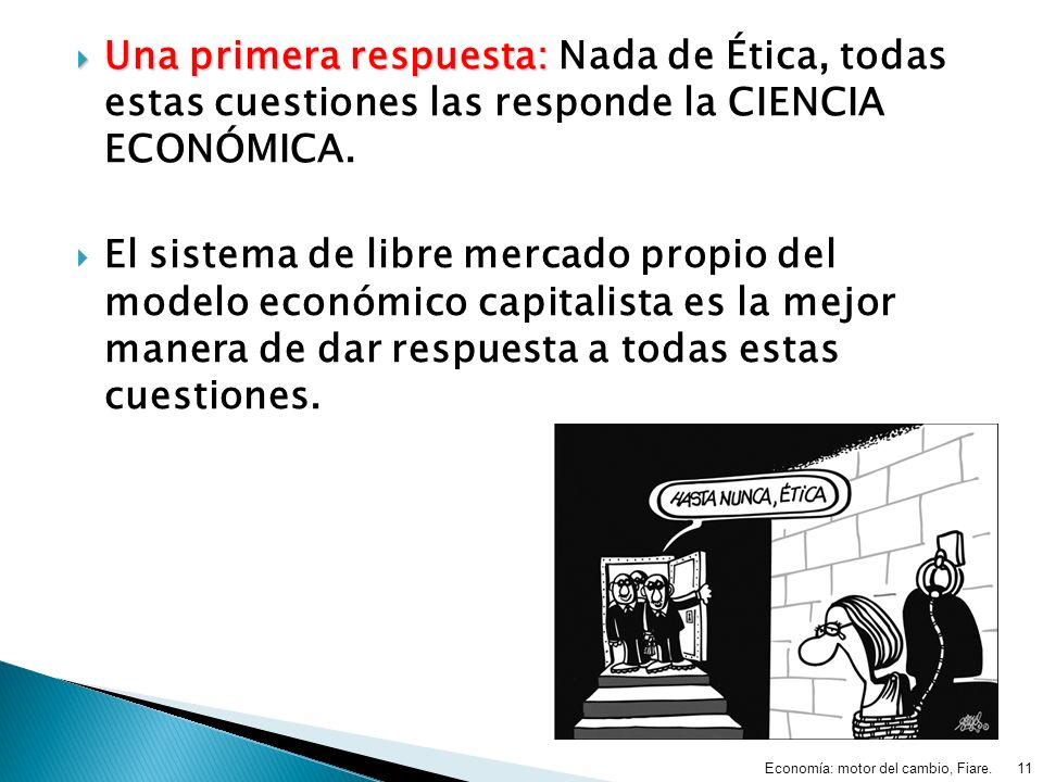 Una primera respuesta: Una primera respuesta: Nada de Ética, todas estas cuestiones las responde la CIENCIA ECONÓMICA. El sistema de libre mercado pro