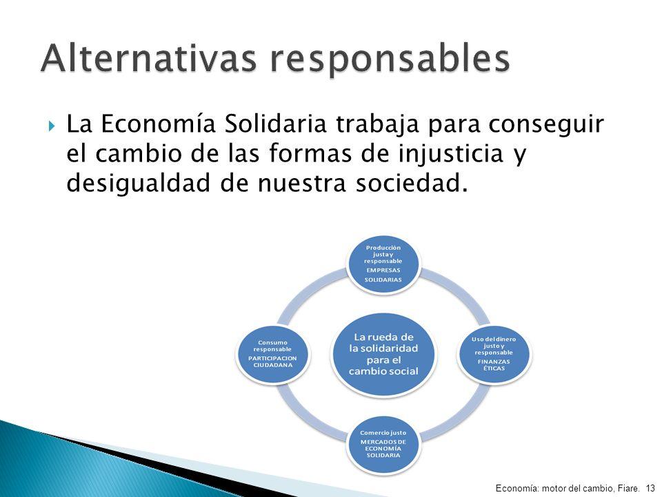 La Economía Solidaria trabaja para conseguir el cambio de las formas de injusticia y desigualdad de nuestra sociedad. Economía: motor del cambio, Fiar
