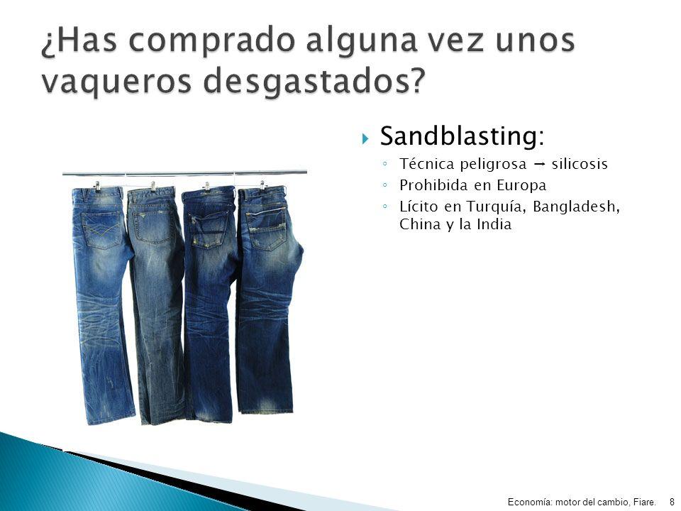 Sandblasting: Técnica peligrosa silicosis Prohibida en Europa Lícito en Turquía, Bangladesh, China y la India Economía: motor del cambio, Fiare.8