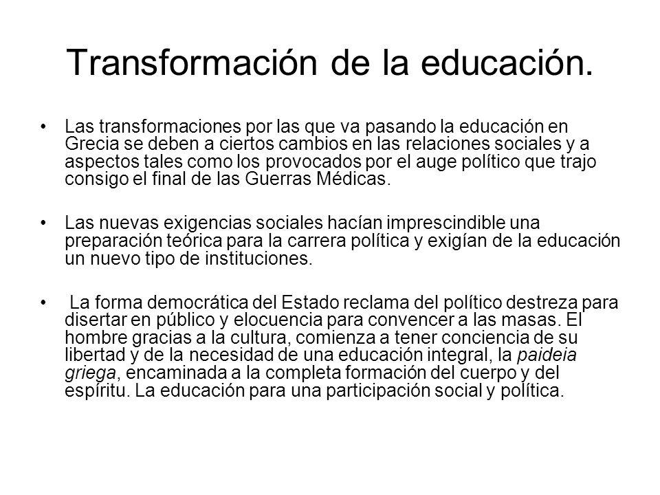 Transformación de la educación. Las transformaciones por las que va pasando la educación en Grecia se deben a ciertos cambios en las relaciones social