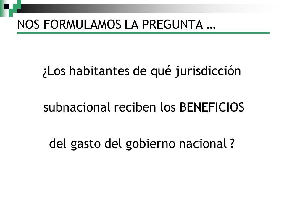 NOS FORMULAMOS LA PREGUNTA … ¿Los habitantes de qué jurisdicción subnacional reciben los BENEFICIOS del gasto del gobierno nacional