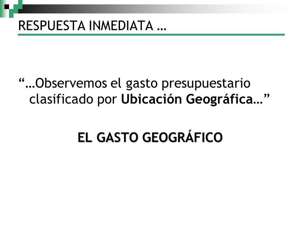 RESPUESTA INMEDIATA … …Observemos el gasto presupuestario clasificado por Ubicación Geográfica… EL GASTO GEOGRÁFICO