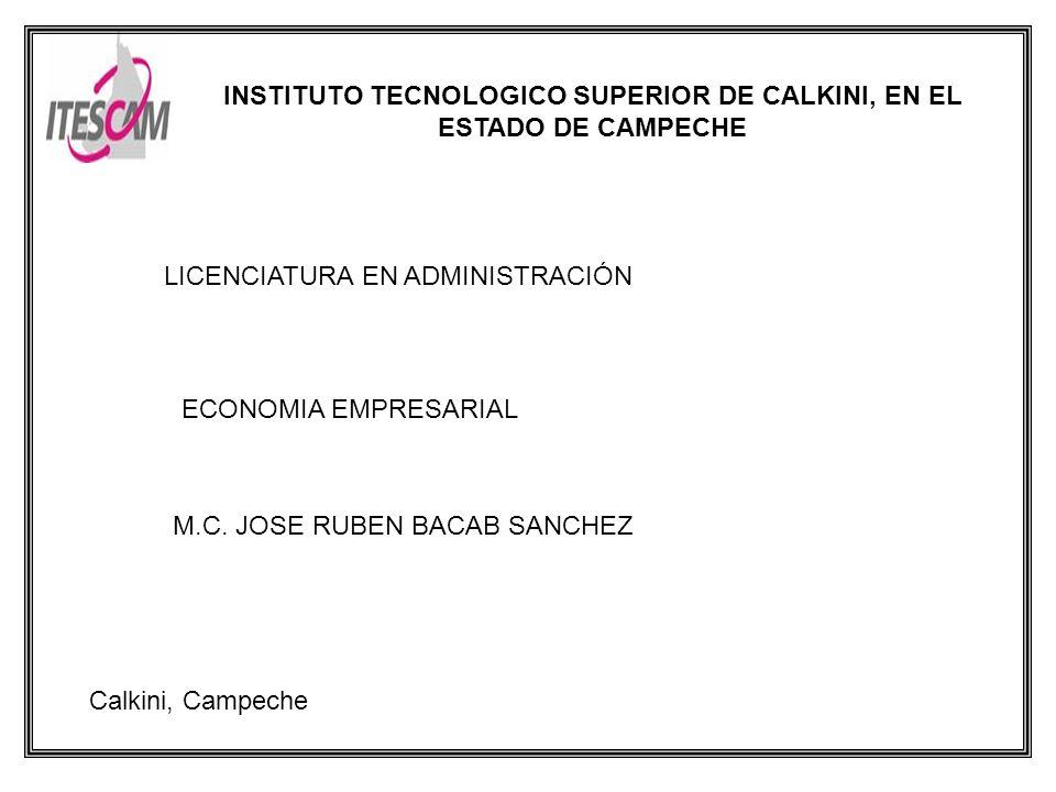 INSTITUTO TECNOLOGICO SUPERIOR DE CALKINI, EN EL ESTADO DE CAMPECHE LICENCIATURA EN ADMINISTRACIÓN ECONOMIA EMPRESARIAL M.C.