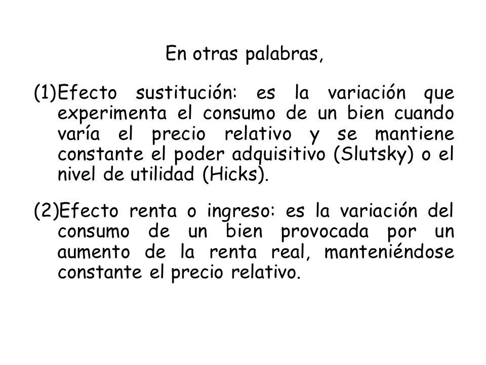 En otras palabras, (1)Efecto sustitución: es la variación que experimenta el consumo de un bien cuando varía el precio relativo y se mantiene constante el poder adquisitivo (Slutsky) o el nivel de utilidad (Hicks).
