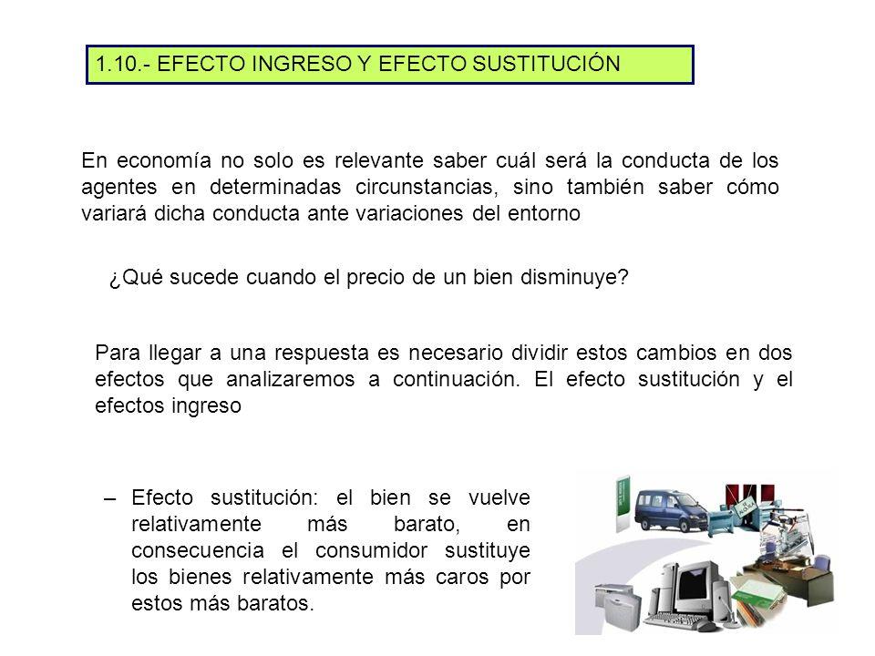 –Efecto sustitución: el bien se vuelve relativamente más barato, en consecuencia el consumidor sustituye los bienes relativamente más caros por estos más baratos.