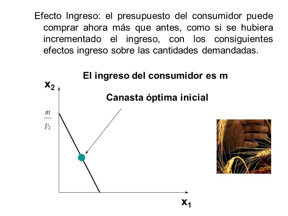 Efecto Ingreso: el presupuesto del consumidor puede comprar ahora más que antes, como si se hubiera incrementado el ingreso, con los consiguientes efectos ingreso sobre las cantidades demandadas.