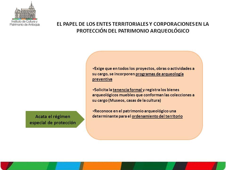Exige que en todos los proyectos, obras o actividades a su cargo, se incorporen programas de arqueología preventiva Solicita la tenencia formal y regi