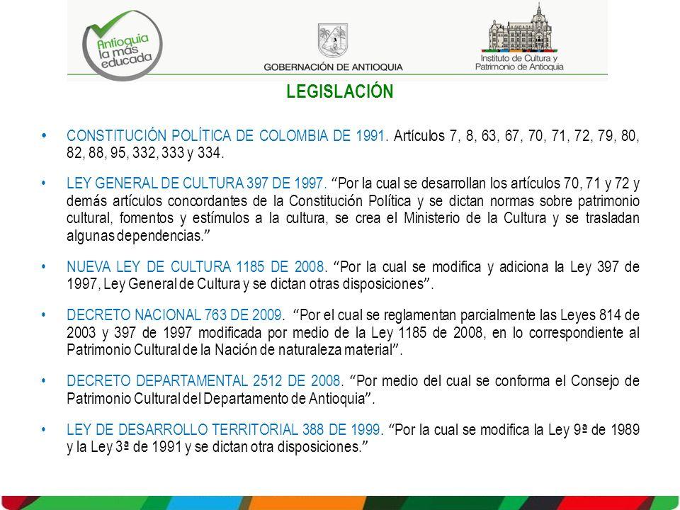 LEGISLACIÓN CONSTITUCIÓN POLÍTICA DE COLOMBIA DE 1991. Artículos 7, 8, 63, 67, 70, 71, 72, 79, 80, 82, 88, 95, 332, 333 y 334. LEY GENERAL DE CULTURA