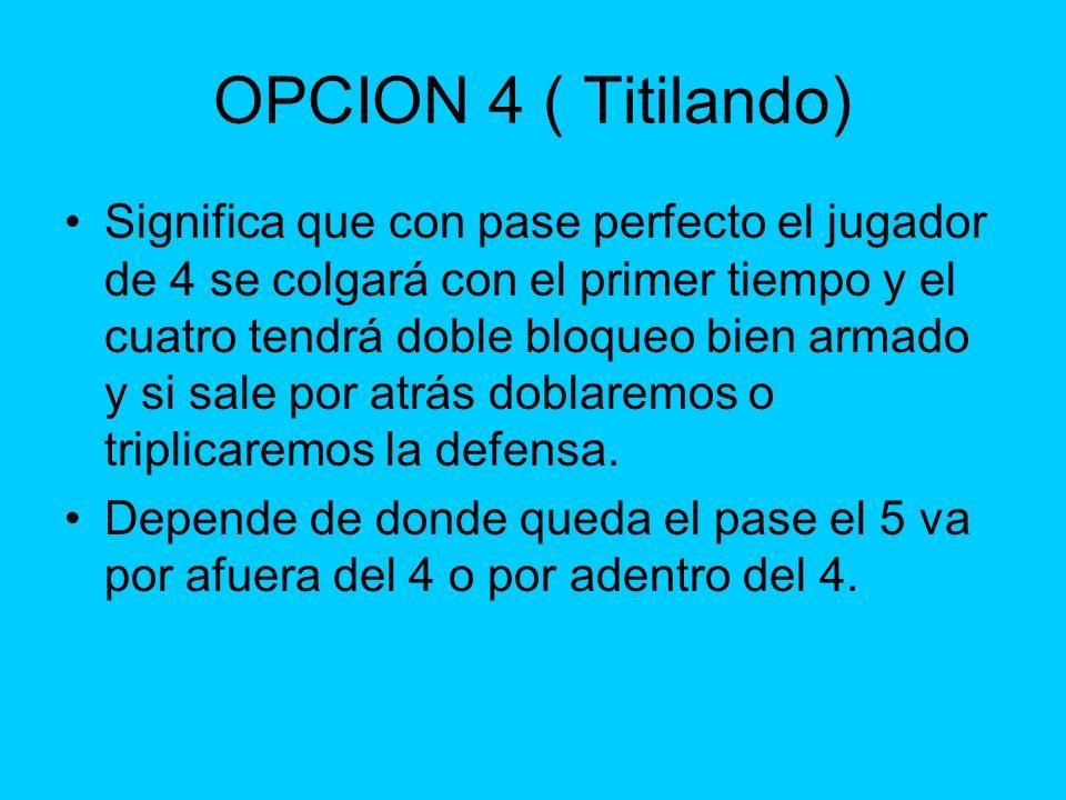 OPCION 4 ( Titilando) Significa que con pase perfecto el jugador de 4 se colgará con el primer tiempo y el cuatro tendrá doble bloqueo bien armado y s