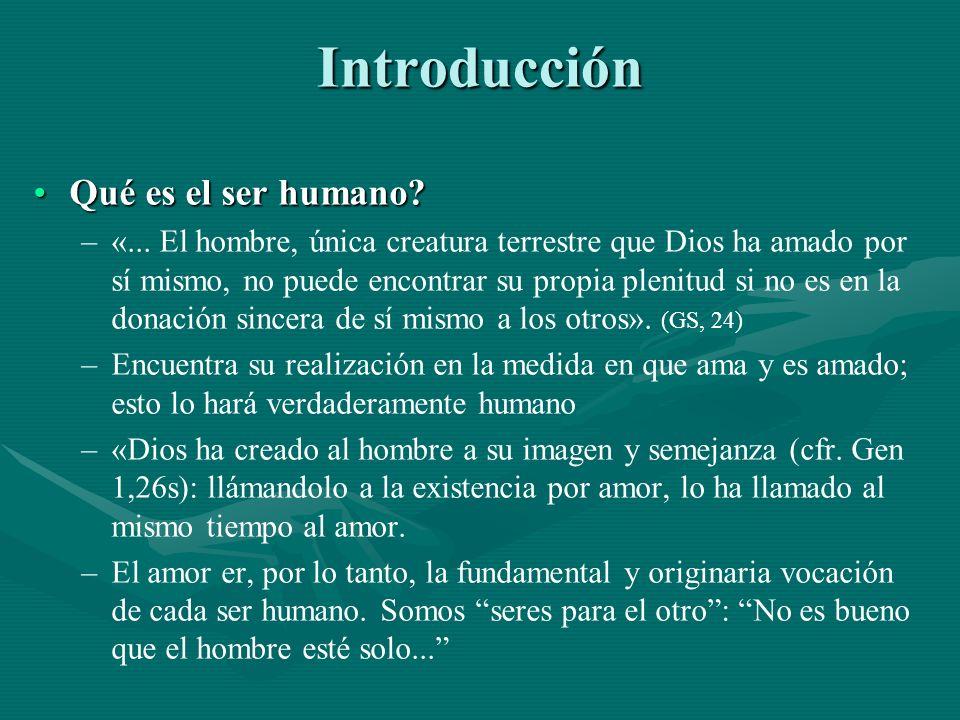 Introducción Qué es el ser humano? ––«––«... El hombre, única creatura terrestre que Dios ha amado por sí mismo, no puede encontrar su propia plenitud