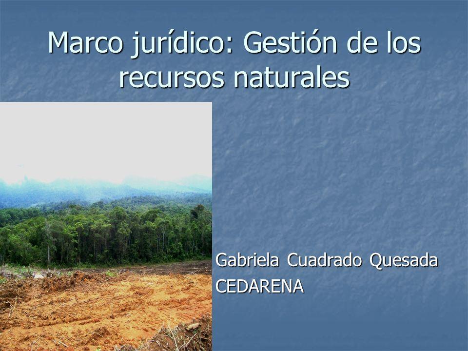 Marco jurídico: Gestión de los recursos naturales Gabriela Cuadrado Quesada CEDARENA