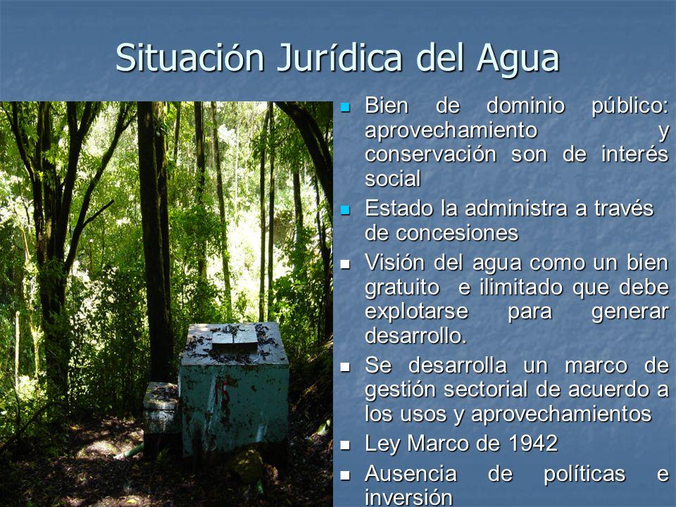 Situaci ó n Jur í dica del Agua Bien de dominio público: aprovechamiento y conservación son de interés social Bien de dominio público: aprovechamiento