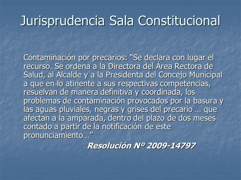 Jurisprudencia Sala Constitucional Contaminación por precarios: Se declara con lugar el recurso. Se ordena a la Directora del Área Rectora de Salud, a