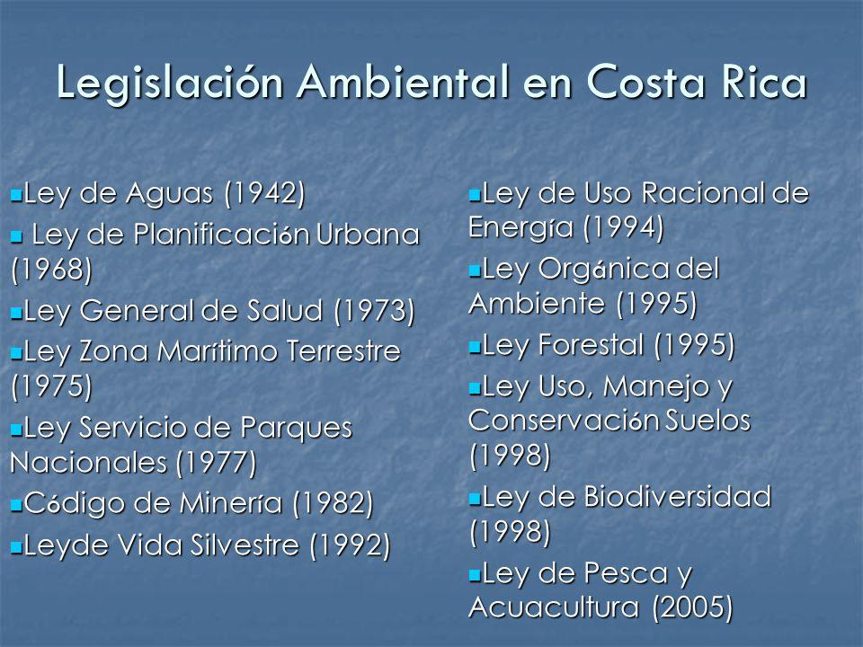 Legislación Ambiental en Costa Rica Ley de Aguas (1942) Ley de Aguas (1942) Ley de Planificaci ó n Urbana (1968) Ley de Planificaci ó n Urbana (1968)