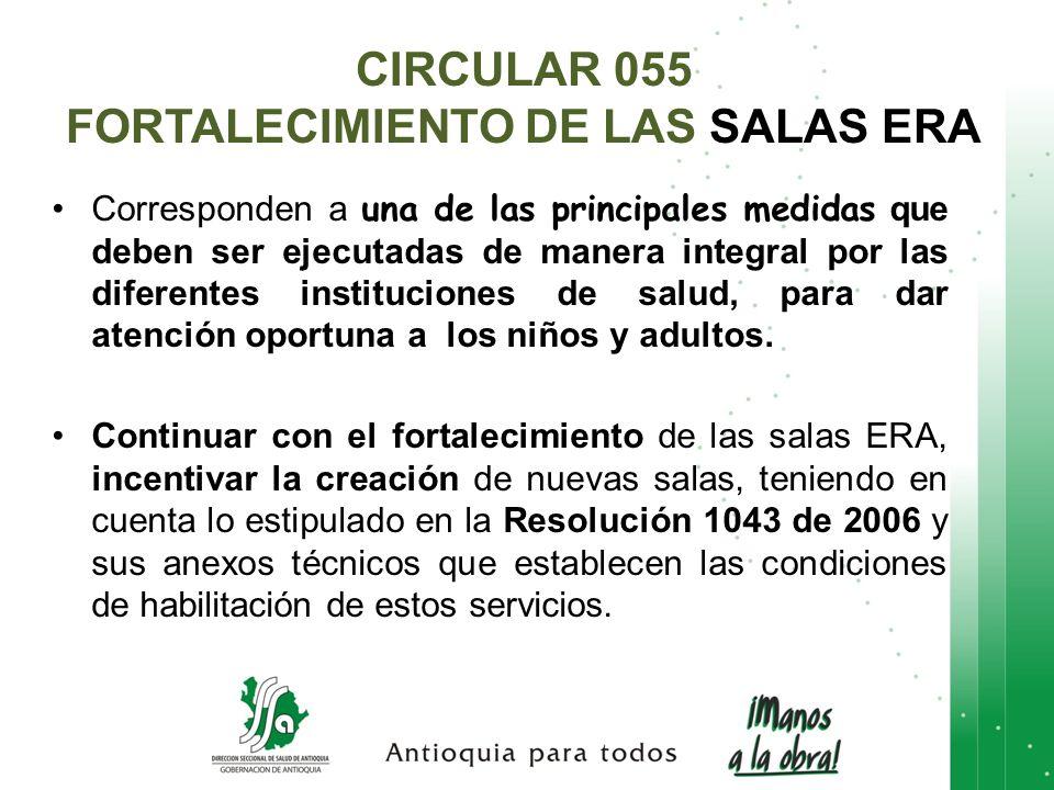 CIRCULAR 055 FORTALECIMIENTO DE LAS SALAS ERA Corresponden a una de las principales medidas que deben ser ejecutadas de manera integral por las difere
