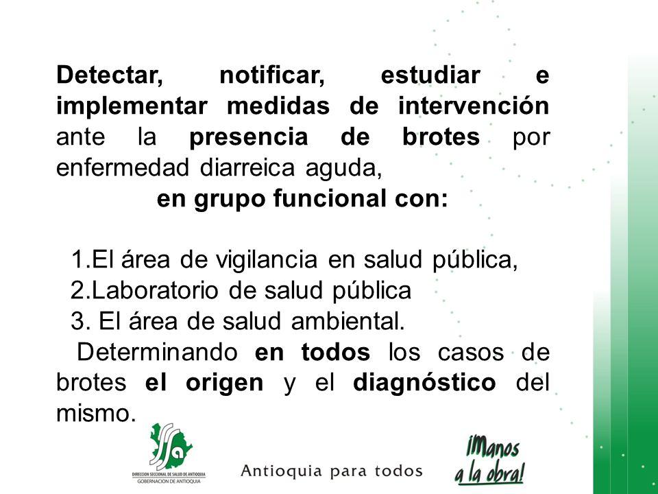 Detectar, notificar, estudiar e implementar medidas de intervención ante la presencia de brotes por enfermedad diarreica aguda, en grupo funcional con