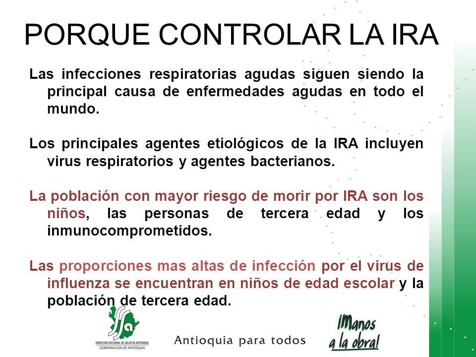 PORQUE CONTROLAR LA IRA Las infecciones respiratorias agudas siguen siendo la principal causa de enfermedades agudas en todo el mundo. Los principales