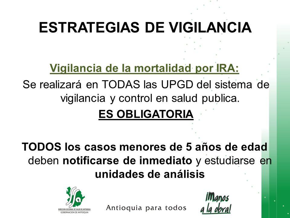 ESTRATEGIAS DE VIGILANCIA Vigilancia de la mortalidad por IRA: Se realizará en TODAS las UPGD del sistema de vigilancia y control en salud publica. ES