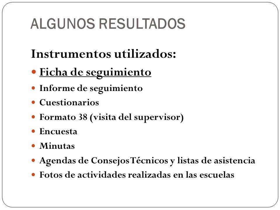 ALGUNOS RESULTADOS Instrumentos utilizados: Ficha de seguimiento Informe de seguimiento Cuestionarios Formato 38 (visita del supervisor) Encuesta Minu