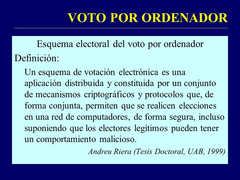 VOTO POR ORDENADOR Esquema electoral del voto por ordenador Definición: Un esquema de votación electrónica es una aplicación distribuida y constituida por un conjunto de mecanismos criptográficos y protocolos que, de forma conjunta, permiten que se realicen elecciones en una red de computadores, de forma segura, incluso suponiendo que los electores legítimos pueden tener un comportamiento malicioso.