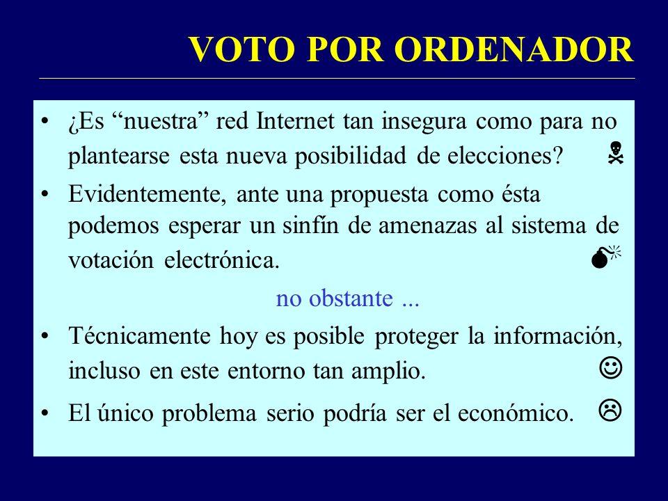 VOTO POR ORDENADOR ¿Es nuestra red Internet tan insegura como para no plantearse esta nueva posibilidad de elecciones.