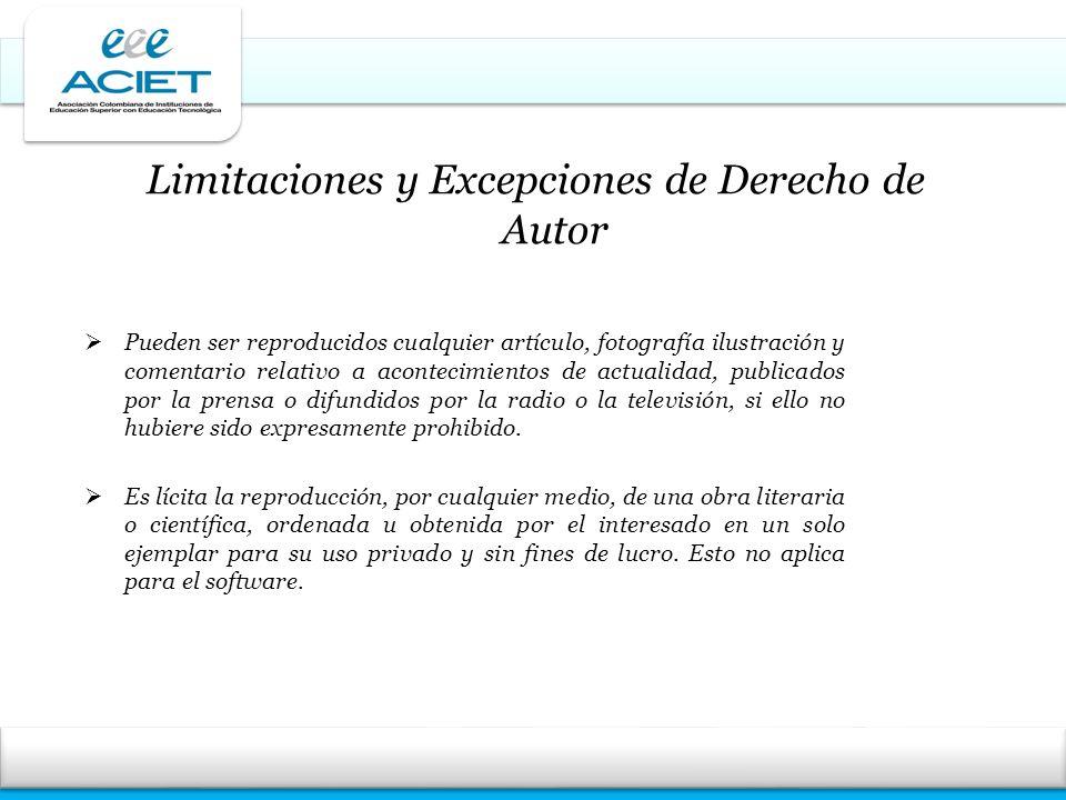 Limitaciones y Excepciones de Derecho de Autor Pueden ser reproducidos cualquier artículo, fotografía ilustración y comentario relativo a acontecimien