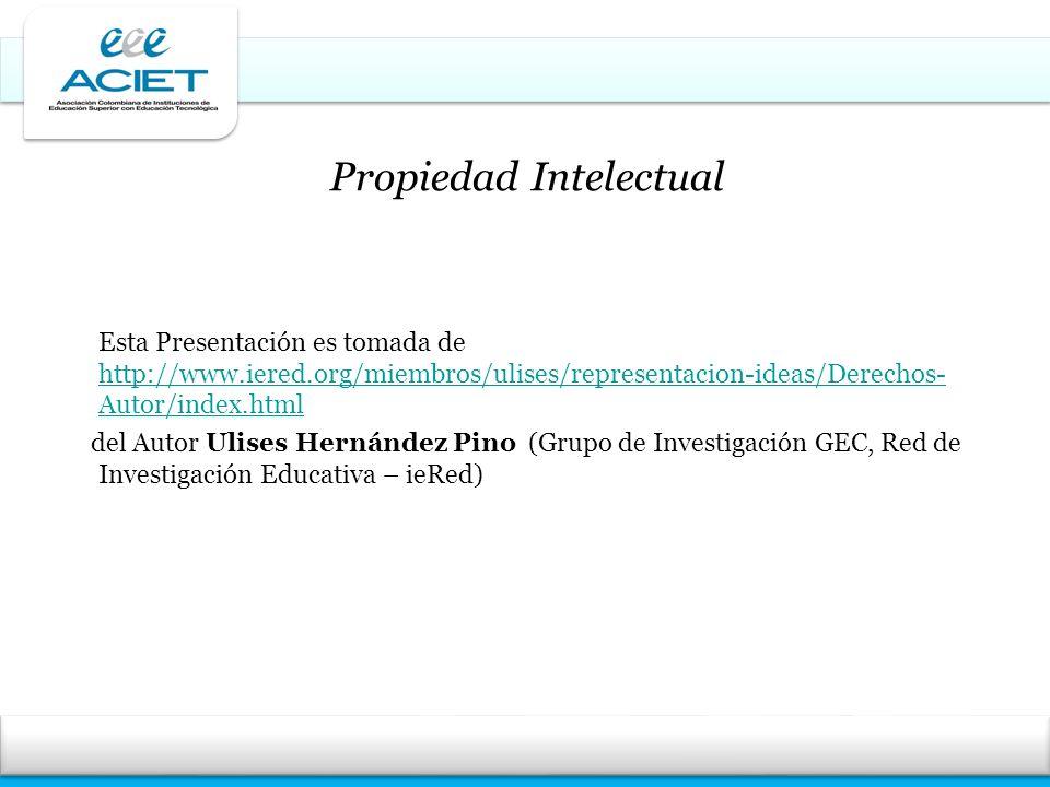 Esta Presentación es tomada de http://www.iered.org/miembros/ulises/representacion-ideas/Derechos- Autor/index.html http://www.iered.org/miembros/ulis