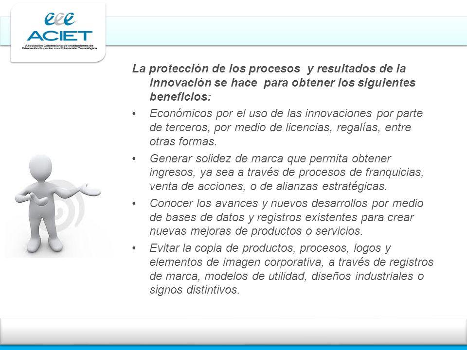 La protección de los procesos y resultados de la innovación se hace para obtener los siguientes beneficios: Económicos por el uso de las innovaciones