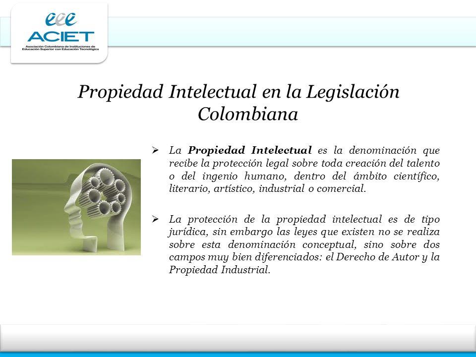 Propiedad Intelectual en la Legislación Colombiana La Propiedad Intelectual es la denominación que recibe la protección legal sobre toda creación del