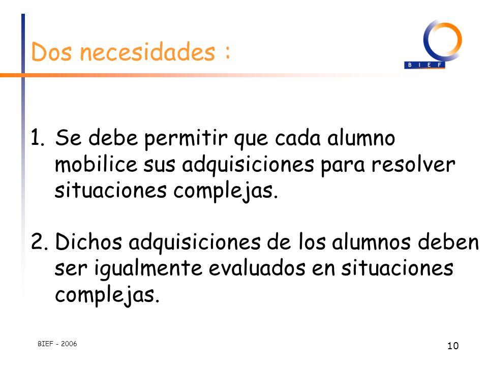 BIEF - 2006 9 Los docentes estan desorientados, no tienen una visión clara de la manera en la cual deben organizar los aprendizajes.