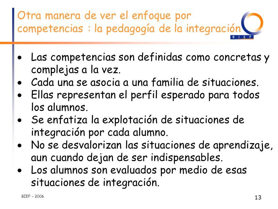 BIEF - 2006 12 2. Dichas adquisiciones de alumnos deben ser igualmente evaluados en situaciones complejas Por razones de eficacidad : no se pueden asp