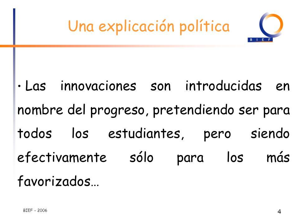 BIEF - 2006 3 Causas Las innovaciones son introducidas muy rápidamente, y en ausencia de condiciones necesarias para su implementación. Los aprendizaj