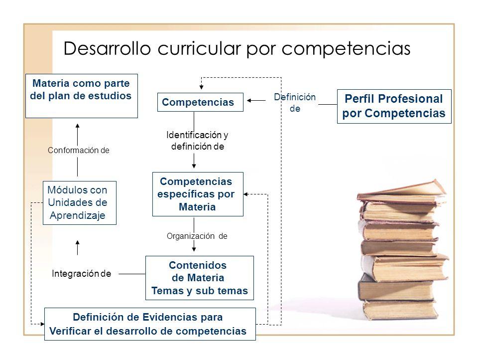 Desarrollo curricular por competencias Perfil Profesional por Competencias Competencias específicas por Materia Contenidos de Materia Temas y sub tema