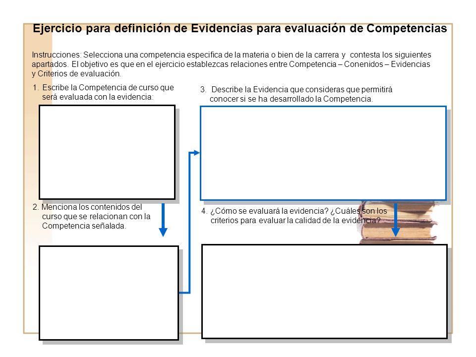 Ejercicio para definición de Evidencias para evaluación de Competencias 1.Escribe la Competencia de curso que será evaluada con la evidencia: 2.