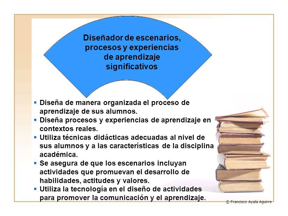 Diseña de manera organizada el proceso de aprendizaje de sus alumnos. Diseña procesos y experiencias de aprendizaje en contextos reales. Utiliza técni