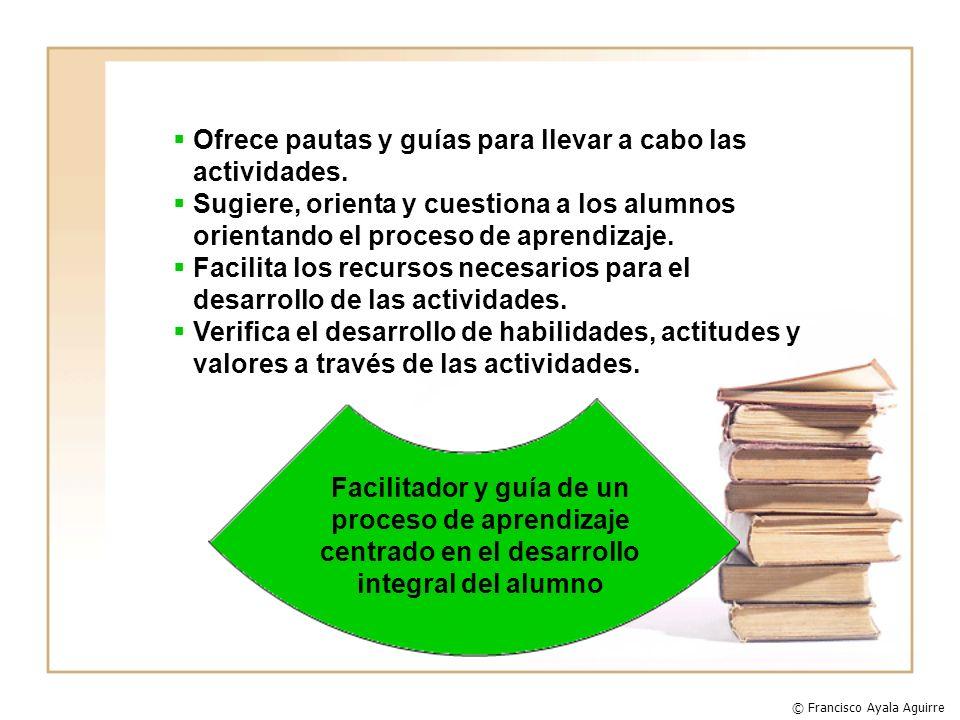 Ofrece pautas y guías para llevar a cabo las actividades. Sugiere, orienta y cuestiona a los alumnos orientando el proceso de aprendizaje. Facilita lo