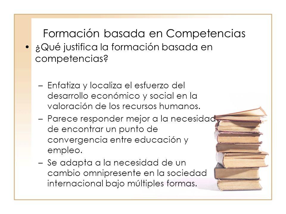 Formación basada en Competencias ¿Qué justifica la formación basada en competencias? –Enfatiza y localiza el esfuerzo del desarrollo económico y socia