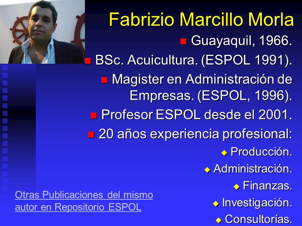 Administración de Empresas Acuícolas II Fabrizio Marcillo Morla MBA barcillo@gmail.com (593-9) 4194239