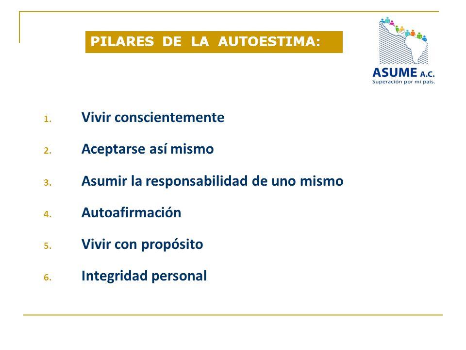 PILARES DE LA AUTOESTIMA: 1. Vivir conscientemente 2. Aceptarse así mismo 3. Asumir la responsabilidad de uno mismo 4. Autoafirmación 5. Vivir con pro