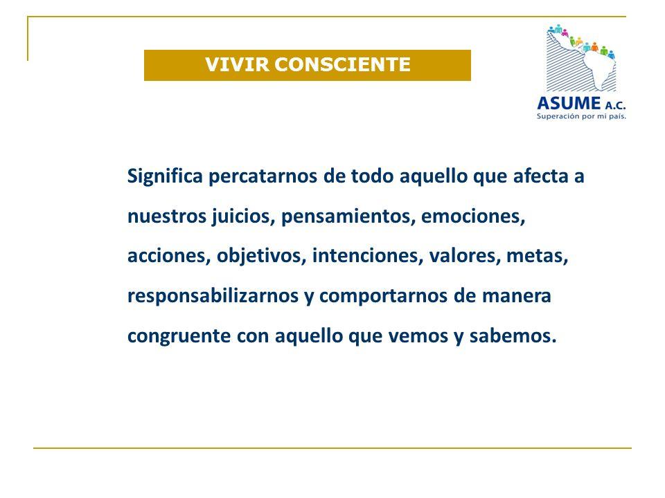 VIVIR CONSCIENTE Significa percatarnos de todo aquello que afecta a nuestros juicios, pensamientos, emociones, acciones, objetivos, intenciones, valor